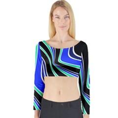 Colors Of 70 s Long Sleeve Crop Top by Valentinaart