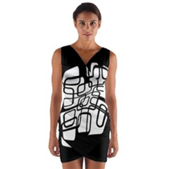 White Abstraction Wrap Front Bodycon Dress by Valentinaart