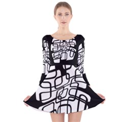 White Abstraction Long Sleeve Velvet Skater Dress by Valentinaart