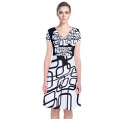 White Abstraction Short Sleeve Front Wrap Dress by Valentinaart