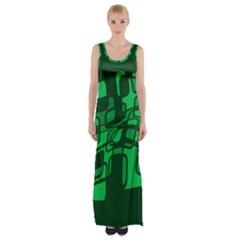 Green Abstraction Maxi Thigh Split Dress by Valentinaart