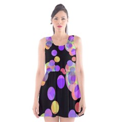 Colorful Decorative Circles Scoop Neck Skater Dress by Valentinaart