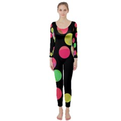 Colorful Decorative Circles Long Sleeve Catsuit by Valentinaart