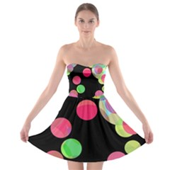 Colorful Decorative Circles Strapless Dresses by Valentinaart