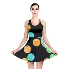 Orange Circles Reversible Skater Dress by Valentinaart