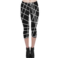 Black And White Simple Design Capri Leggings  by Valentinaart