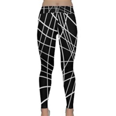 Black And White Elegant Lines Yoga Leggings by Valentinaart