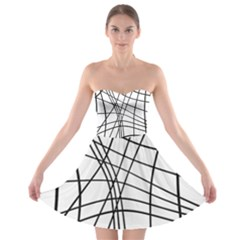 Black And White Decorative Lines Strapless Dresses by Valentinaart