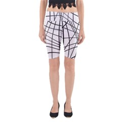 Black And White Decorative Lines Yoga Cropped Leggings by Valentinaart