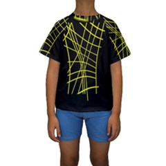 Yellow Abstraction Kid s Short Sleeve Swimwear by Valentinaart