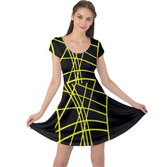 Yellow Abstraction Cap Sleeve Dresses by Valentinaart