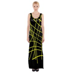 Yellow Abstraction Maxi Thigh Split Dress by Valentinaart