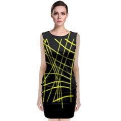 Yellow Abstraction Classic Sleeveless Midi Dress by Valentinaart