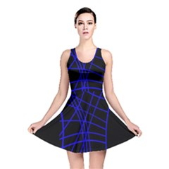 Neon Blue Abstraction Reversible Skater Dress by Valentinaart
