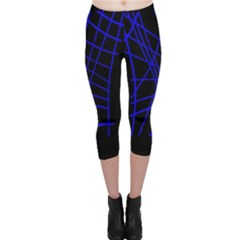 Neon Blue Abstraction Capri Leggings  by Valentinaart