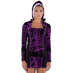 Neon Purple Abstraction Women s Long Sleeve Hooded T Shirt by Valentinaart