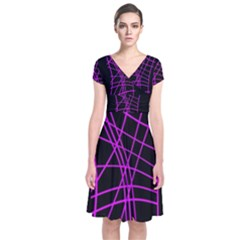 Neon Purple Abstraction Short Sleeve Front Wrap Dress by Valentinaart