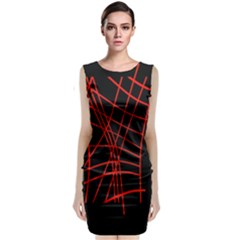 Neon Red Abstraction Classic Sleeveless Midi Dress by Valentinaart