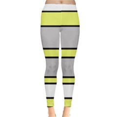 Yellow And Gray Lines Leggings  by Valentinaart