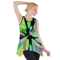 Green Abstract Flower Side Drop Tank Tunic by Valentinaart