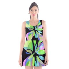 Green Abstract Flower Scoop Neck Skater Dress by Valentinaart
