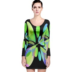 Green Abstract Flower Long Sleeve Velvet Bodycon Dress by Valentinaart