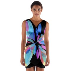 Blue Abstract Flower Wrap Front Bodycon Dress by Valentinaart