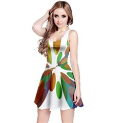 Colorful Abstract Flower Reversible Sleeveless Dress by Valentinaart