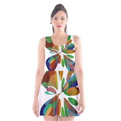 Colorful Abstract Flower Scoop Neck Skater Dress by Valentinaart