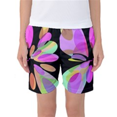 Pink Abstract Flower Women s Basketball Shorts by Valentinaart