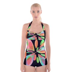 Colorful Abstract Flower Boyleg Halter Swimsuit  by Valentinaart