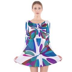 Blue Abstract Flower Long Sleeve Velvet Skater Dress by Valentinaart