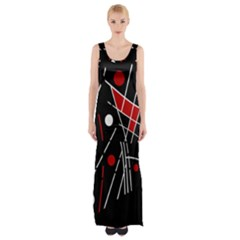 Artistic Abstraction Maxi Thigh Split Dress by Valentinaart
