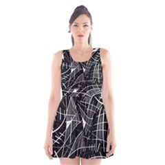 Gray Abstraction Scoop Neck Skater Dress by Valentinaart
