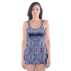 Pretty Purple Flowers Pattern Skater Dress Swimsuit by BrightVibesDesign