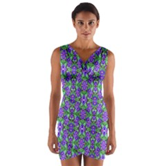 Pretty Purple Flowers Pattern Wrap Front Bodycon Dress by BrightVibesDesign