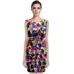 Kate Tribal Abstract Classic Sleeveless Midi Dress by LisaGuenDesign