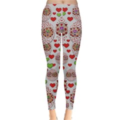 Love Bunnies In Peace And Popart Leggings  by pepitasart