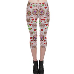 Love Bunnies In Peace And Popart Capri Leggings  by pepitasart