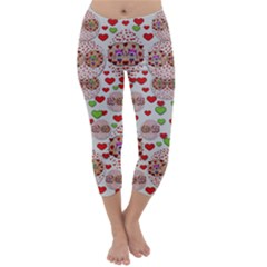 Love Bunnies In Peace And Popart Capri Winter Leggings  by pepitasart