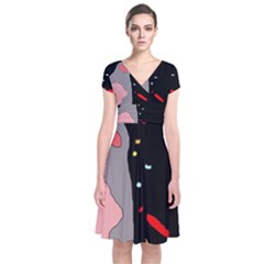 Crazy Abstraction Short Sleeve Front Wrap Dress by Valentinaart