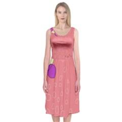 Pink Abstraction Midi Sleeveless Dress by Valentinaart