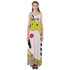 Yellow Abstraction Empire Waist Maxi Dress by Valentinaart