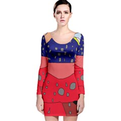 Playful Abstraction Long Sleeve Velvet Bodycon Dress by Valentinaart