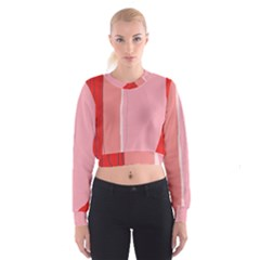 Red And Pink Lines Women s Cropped Sweatshirt by Valentinaart