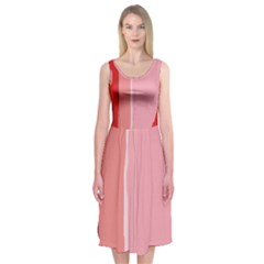 Red And Pink Lines Midi Sleeveless Dress by Valentinaart