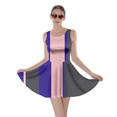 Purple, Pink And Gray Lines Skater Dress by Valentinaart