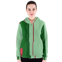 Green And Red Design Women s Zipper Hoodie by Valentinaart