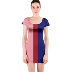 Pink And Blue Lines Short Sleeve Bodycon Dress by Valentinaart