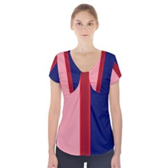 Pink And Blue Lines Short Sleeve Front Detail Top by Valentinaart